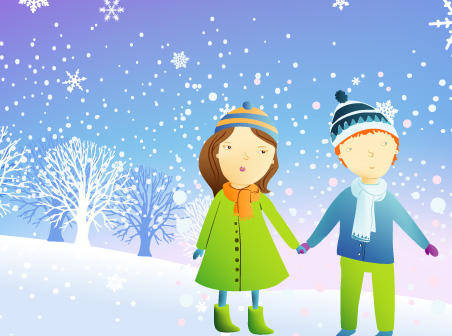 Snow couple free vector