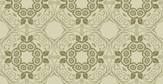 free vector Green floral seamless wallpaper