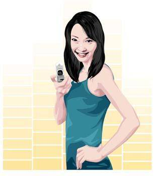 free vector Girl with phone 5
