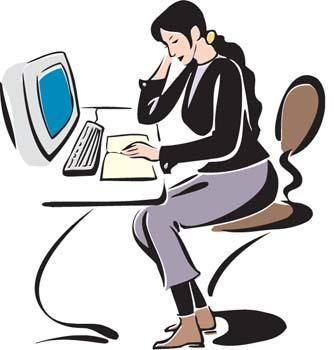 free vector Girl working with her desktop PC