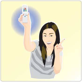 free vector Girl with phone 23