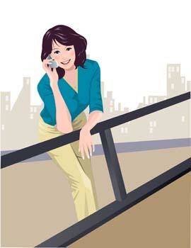 free vector Girl with phone 1