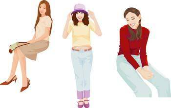 free vector Sit girl position vector 29