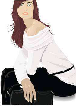 free vector Beautiful girl in sit positions 12