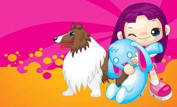 free vector Girl and dog 14