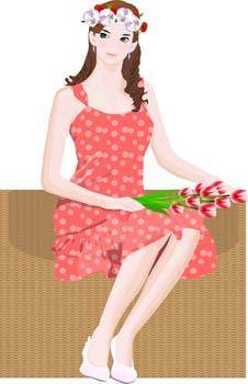 free vector Beautiful girl in sit positions 14