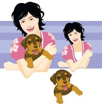 free vector Girl and dog 6
