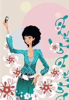 free vector Girl with phone 22
