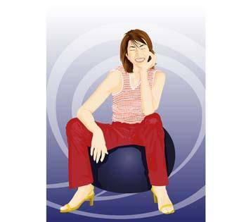free vector Beautiful girl in sit positions 10