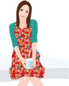 free vector Beautiful Girl with a cup of coffee 13