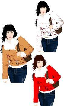 free vector Beautiful sexy winter girl 6