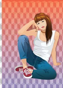 Sit girl position vector 6