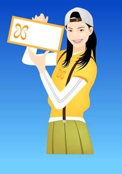 free vector Girl carrier board 1