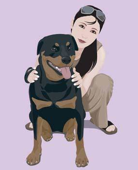 free vector Girl and dog 10
