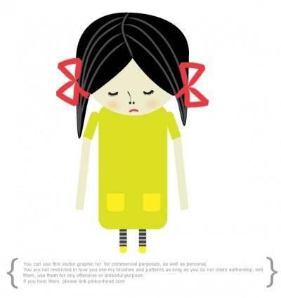 free vector Sad girl