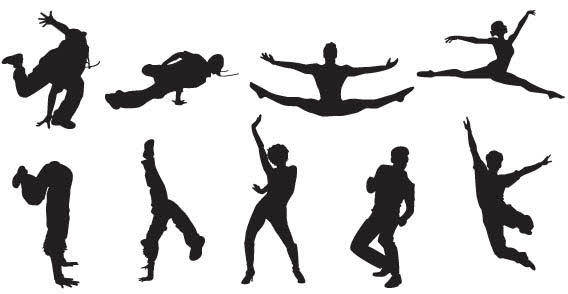Sport people silhouettes free vector