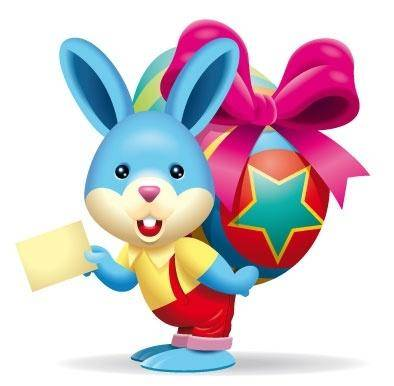 free vector Cute bunny brings easter egg