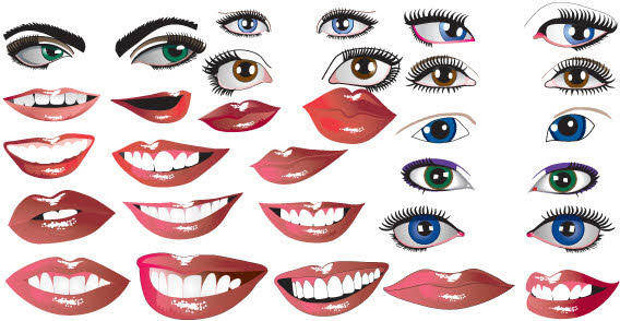 Female lips and eyes free vector
