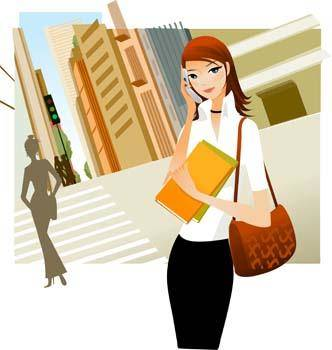 free vector Girl with phone 7