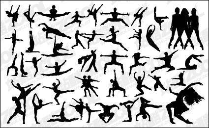 People silhouette Vector variety of dance material