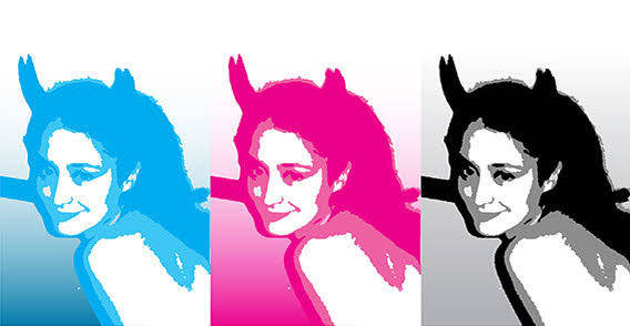 Three color woman free vector