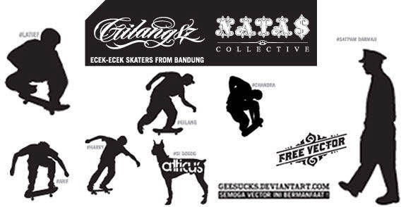 free vector Skaters silhouettes free vector