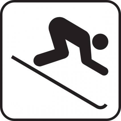 Ice Skiing Map Sign clip art