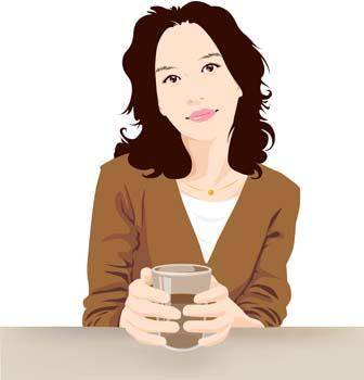 free vector Beautiful Girl with a cup of coffee 2