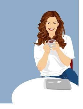 free vector Beautiful Girl with a cup of coffee 6