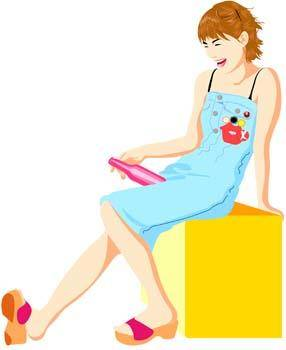 free vector Beautiful girl in sit positions 5