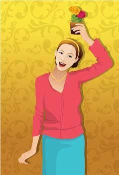 free vector Beautiful girls vector 12