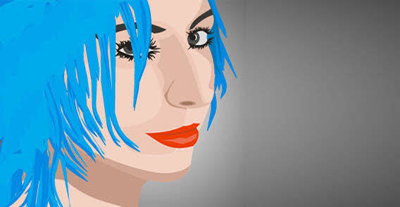 Girl with blue hair free vector