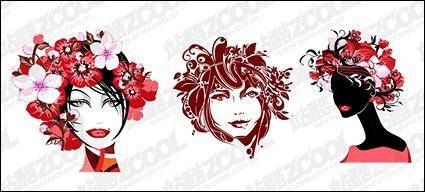 free vector Fashion female flower head vector material