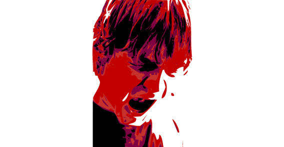 Red angry Boy free vector