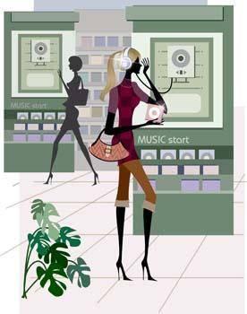 free vector Shopping girl 14