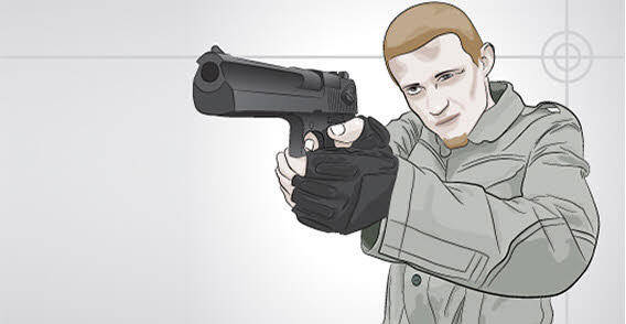 Serious Man with gun free vector