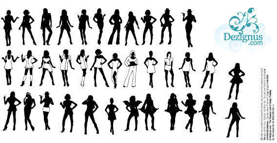 Many Sexy girls silhouettes free vector