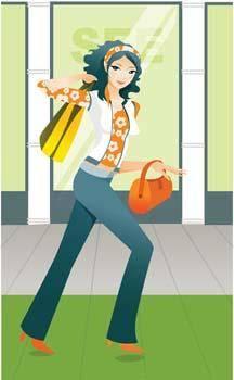 free vector Shopping girl 1