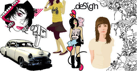 Car and girls free vector