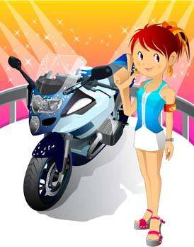 free vector Motorcycle girl 2