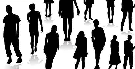 Different people silhouettes free vector