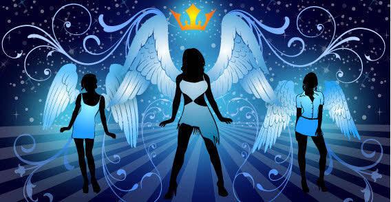 Three Night angels free vector