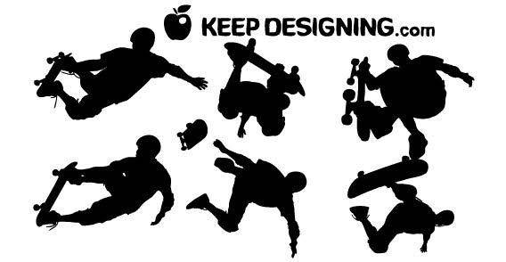 free vector Skateboarders free vector silhouettes