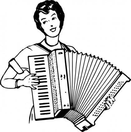 Woman Playing Accordeon clip art