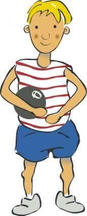 free vector Boy Holding Baloon clip art