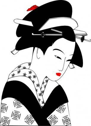 Valessiobrito Japan Woman Black And White clip art