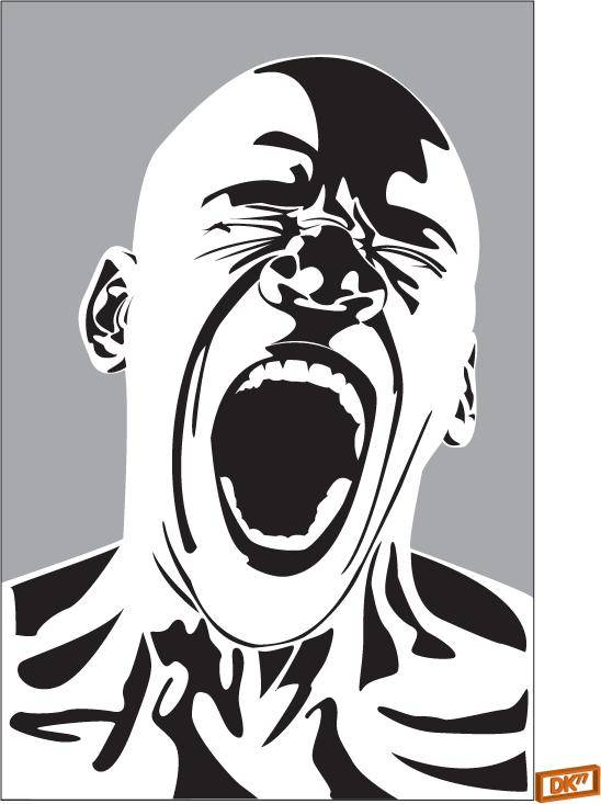Illustration of a bald African male screaming