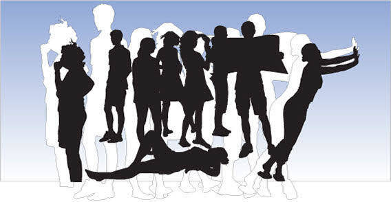 Different style People silhouettes free vector