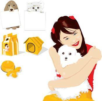 free vector Girl and dog 4