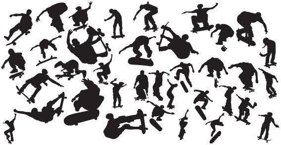 free vector Skaters silhouettes